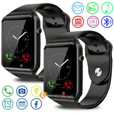 2Pcs Waterproof Bluetooth Smart Watch Phone Mate W/Camera For iphone IOS Android