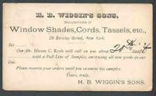 Ca 1878 NY H B Wiggins Makes WIndow Shades Cords Tassels Salesmans Calling Card