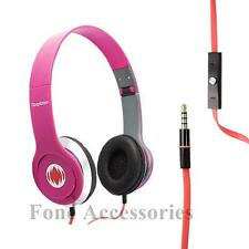 Deepbass headphones earphones+mic for DVD MP4 MP3 iPod iPhone laptop tablet PINK