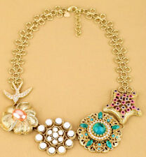 BETSEY JOHNSON Gold Star Bird Seagull Flower Bead Bib Collar Statement Necklace