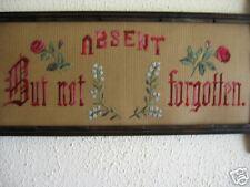 Victorian Motto Antique Sampler;Absent not Forgotten
