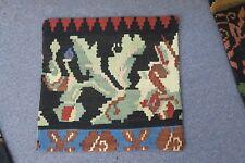 "Turkish Anatolian Kilim Pillow Cushion Hand Woven Wool 18"" x 18"" - Zipper Back"