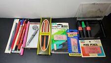 Bundle Of Vintage Office Supplies Pens Erasers Etc Untested