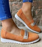 Womens Round Toe Espadrille Loafers Shoes Heel Casual Flats Comfort Retro Lady