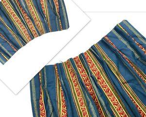 Pair Luxury Stripe Custom Drapes Pinch Pleat Curtains Panels Blue Red HTF Heavy