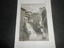 1840 FROMMEL INCISIONE SU ACCIAIO CASCATE DI NESSO SUL LAGO DI COMO BELLAGIO