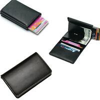 Portefeuille pour hommes en cuir RFID bloquant le porte-cartes mince SAFE