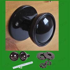 48mm Brown Plastic Bakelite Mortice 2 Round House Door Handle Knobs Set