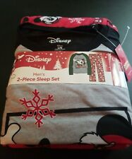 Men's Disney Mickey Mouse Men's Top & Bottoms Pajama Set Size Adult Large New!