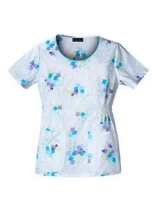 White/Colourful Tunic, Salon, Spa, Therapist, Workwear, Uniform, Healthcare