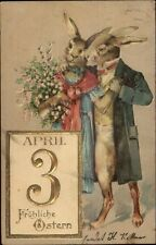 Easter Fantasy Rabbit Couple in Fancy Clothes Gilt Embossed c1910 Postcard