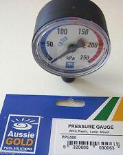 """Pressure Gauge BOTTOM MOUNT for Sand, Cartridge, DE, RUST FREE CASE, 1/4"""" BSP."""