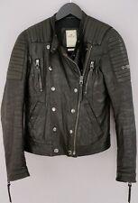 Women Replay Biker Jacket Genuine Leather Casual S UK10 ZJA513