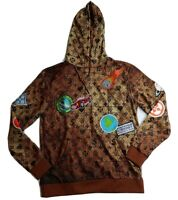 Hudson Outerwear mens 100% AUTHENTIC L/S pullover hoodie size large brown map