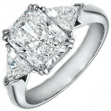 3 Stone Radiant & Trillion GIA Diamond Engagement Ring 1.50 CTW Platinum