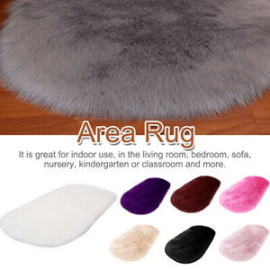 For Bedroom Modern Solid Rectangle Faux Fur Shaggy Super Washable Area Rug Soft