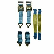 "Recovery Ratchet 2 x 4mtr Blue Transporter Strap Short Handles 18"" Soft Ring"