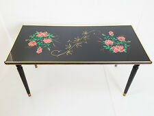 TABLE BASSE RECTANGULAIRE AUX ROSES 1960 VINTAGE ROCKABILLY 60'S 60S ANNEES 60