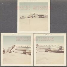 Lot of 3 Vintage Photos Trans International Airlines Boeing 707 Airplane 724938