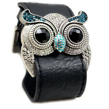 Accents Kingdom Silver Color Owl Leather Bracelet Blue Simulated Topaz Crystal