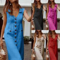 Women's Casual Solid Sleeveless V Neck Pockets Midi Dress Beach Sundress GIFT