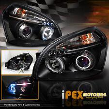 For 2005 2006 2007 Hyundai Tucson Dual Halos Projector LED Headlights Black