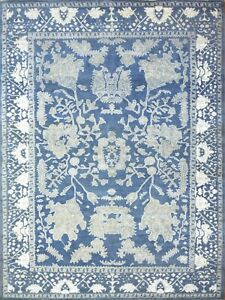 9'x12' Rug | Hand Knotted luxury Blue Wool Area Rug