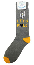 Let's Roll Fun Bowling Themed Play on Words Men's Novelty Fashion Crew Socks