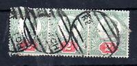 GB QV 1887 2d Jubilee used strip of 3 WS12872
