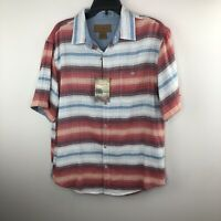 NWT Clearwater Outfitters Red White Blue Stripe Button Front Mens Shirt Medium