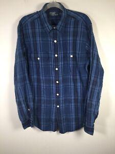 Ralph Lauren mens mulberry silk + linen blue plaid button up shirt size L