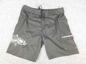 Tormenter Mens Board Shorts Fish Embroidered Laced Surf Beach Size 36 Black