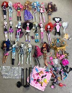 Monster High Dolls Large Bulk Lot 20x Dolls Accessories Mirror Clothes Etc