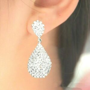Silver Long Drop Statement Earrings Women Crystal Rhinestone Bridal Prom Gift UK