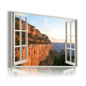 GREAT CANION MOUNTAINS USA 3D Window View Canvas Wall Art Print WN76