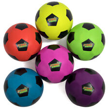 Set of 6 Youth Size Neon Colors Soccer Balls with Air Pump, Mesh Bag