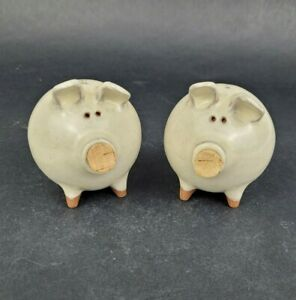 Morgan Pottery Pig Shakers Cork Nose Clay Salt and Pepper Set