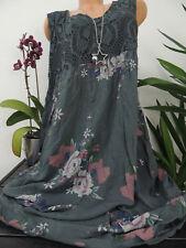 Damen Kleid Größe 46 48 50 52 54 Übergröße Kleider Maxikleid Blumen Spitze 129E
