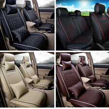 Vehicle PU leather 5-Seats Full Set Accessories Seat Cover Front &Rear Pillows
