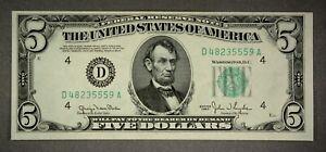 US $5 Federal Reserve Note Series 1960 D48235559A Green Seal Crisp!