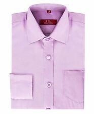Boys Kids Childrens Collor Longsleeve Formal Shirts Plain colours 3-13 years