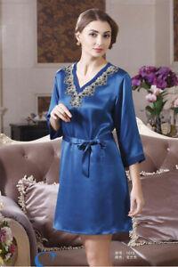 Pure Silk Womens Lace V Neck 3/4 Sleeve Sleepwear Chemise 1613