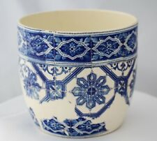 Handmade Decoupage Recycled Ceramic Shabby Chic Plant Pot Blue and White