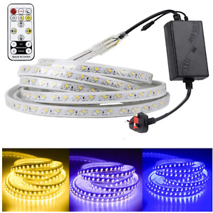 RGB LED Strip 220V TriColour 120LED 5730 IP67Waterproof Lights White Blue Purple