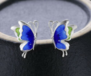B08 Earrings Blue Butterfly Cloisonne Sterling Silver 925