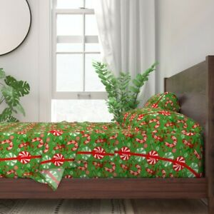 Christmas Candy Candy Canes Mints 100% Cotton Sateen Sheet Set by Roostery