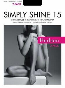 Hudson Simply Shine 15 Denier STW Tights Pantyhose - XX-Large - Black - 2 PAIRS