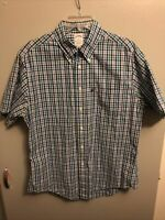 Brooks Brothers 346 Men's Button Shirt Slim Fit S/S Multicolor Check Size Large