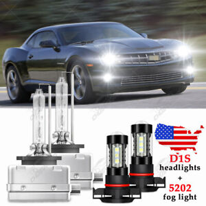 For Chevy Camaro 2010 2011 2012 2013 D1S HID Headlight + 5202 LED FogLight Bulbs