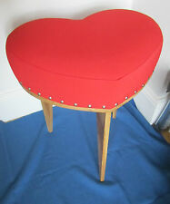 Heart Dressing table stool deep cushion red vinyl and recycled oak. hand crafted